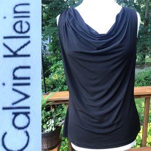 Calvin Klein Black Sleeveless Cowl Neck Blouse-Lrg